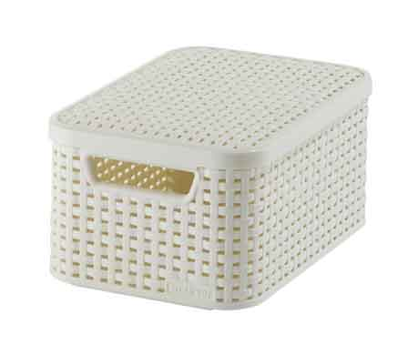 Basket With Lid Rattan Style Small Curver